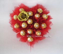 Букеты из конфет на 14 февраля своими